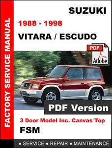 suzuki vitara escudo jx jlx 1988 1998 factory service repair rh m ebay ie Suzuki Grand Vitara 4x4 1999 Suzuki Vitara Soft Top