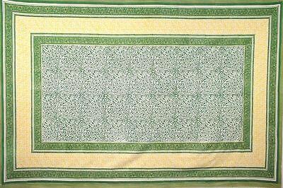 Handmade Persian Filigree Geometric Tablecloth 100% Cotton 60x90 Rectangle Green