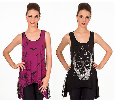 Banned Emo Punk Gothic Skull Bats Birds Sexy Lace Back Vest Top Wine Red Black