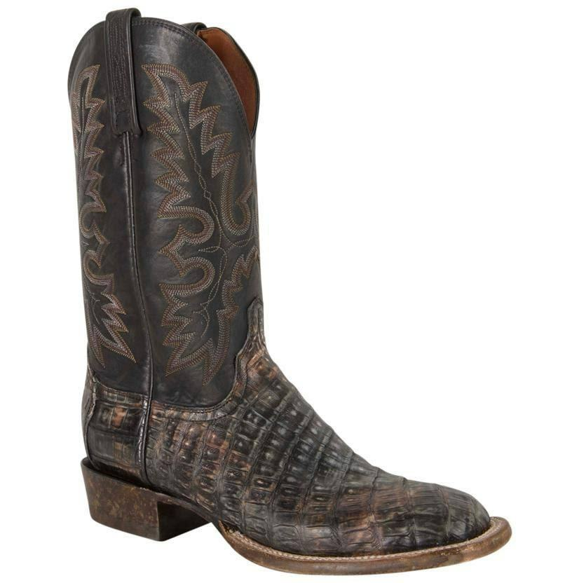 Lucchese Mens Timber Belize Caiman Belly Cowboy stivali - nero AL2037.W8