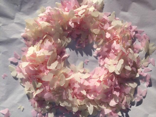 Pink wedding confetti Biodegradable Eco Friendly Cream Hearts Butterflies Flower