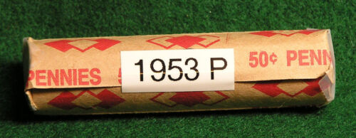 """1953  United States Lincoln /""""WHEAT/"""" Used//Circulated Pennies ONE Roll of 50"""