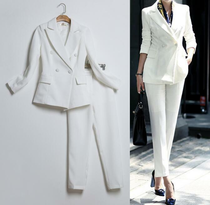 2Pcs Women Slim Double Breasted Blazers Coat Straight Legs Pants Suits Dress new