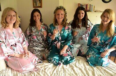 Treu Kimono Robe Long 16 Colors Premium Peacock Bridesmaid Bridal Shower Womens Gift