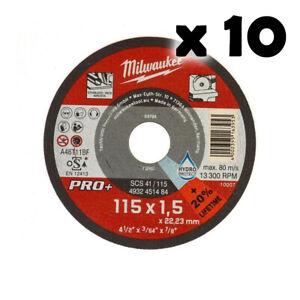 MILWAUKEE-10-Dischi-da-Taglio-Sottile-Metallo-115mm-x1-5mm-per-Smerigliatrice
