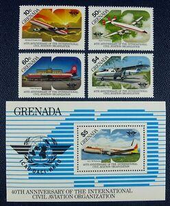 Grenade 1985 Aviation Avions Airplanes Aircraft Oaci 1362-65 + Bloc 140 Neuf Sans Charnière Laissons Nos Produits Aller Au Monde