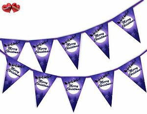 Santa-Sleigh-Reindeer-Merry-Christmas-mix-Bunting-Banner-15-flags-by-PARTY-DECOR
