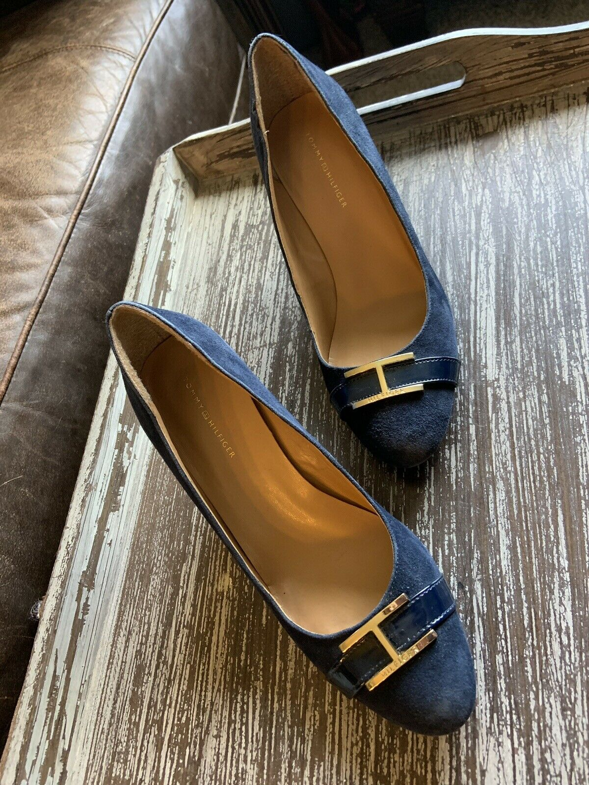 Tommy Hilfiger Twreda Faux Suede Blue Wedges with… - image 1