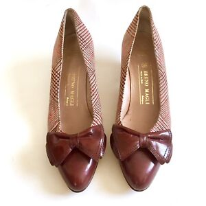 Bruno-Magli-Womens-7-AA-Brown-Leather-Plaid-Bow-Pointed-Toe-Pumps-Heels-Italy