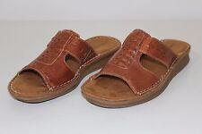 Natural Soul Naturalizer Womens Sz 7 Medium Brown Leather Slides Sandals Shoes