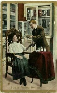 Vintage-Post-Card-c-1909-034-Iv-039-e-Got-A-Feeling-For-You-034-Doctor-Women-Patient-Pulse