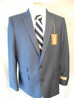 Haggar 1926 Polyester 46 L Slim Solid Blue Two Button Sports Coat Sr$195