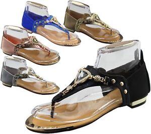 Womens-Flat-Summer-Sandals-Ladies-Diamante-Wedding-Toe-Post-Casual-Slipper