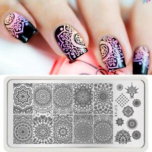 Nail-Art-Stamp-Stamping-Plate-Roses-Design-Image-Stamper-Scraper-Kit-Makeup-2018