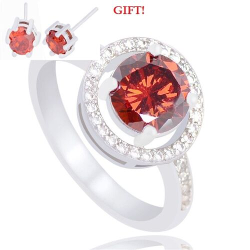 Red Topaz on Silver Ring Details about  /Sz 6,7,8,9,10 WITH EARRINGS