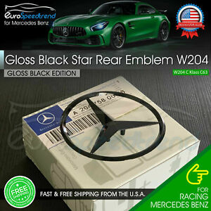 Gloss Black Star Trunk Emblem for Rear Lid Logo Badge W204 C Class Mercedes AMG