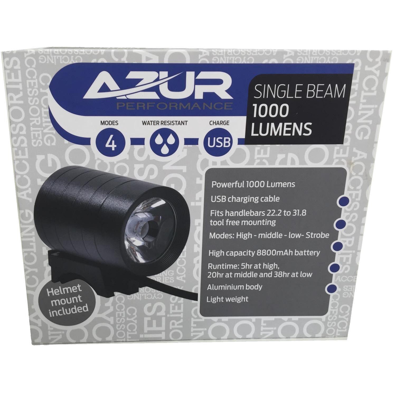 Azur Single Beam 1000 Lumen Font Bicycle Bike Head Light USB