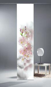 Limbo-Flaechenvorhang-Schiebevorhang-bedruckt-Seidenoptik-60-x-260-cm-Kirschbluete