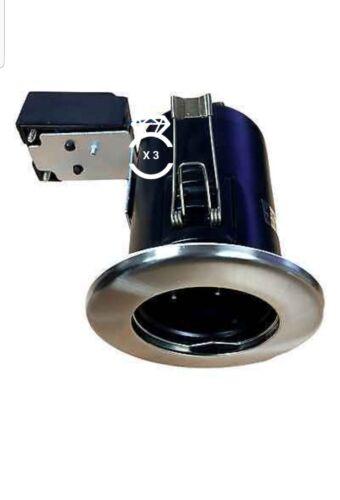 Fire Rated gu10 Downlight ip20 Recessed Ceiling Spots JCC dans Brushed Nickel x 3