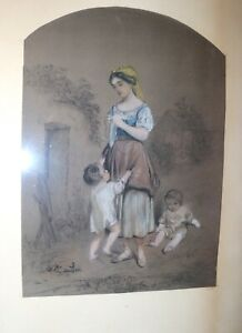 antique-19th-century-original-figural-mother-painting-pastel-charcoal-drawing