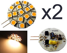 2x G4 15 LED 200 Lumen Warm White 3W 12V AC DC Lamp for Boat, Marine, RV, DIY