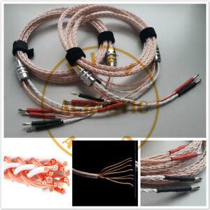 1Pair 8N OCC Bi Wire Speaker Wire Cable HiFi amp Rhodium Banana 2 TO ...