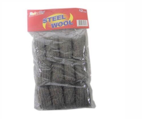 Estropajo Metálico 12pc Steel Wool Hand Pads Medium Coarse Lana de Acero