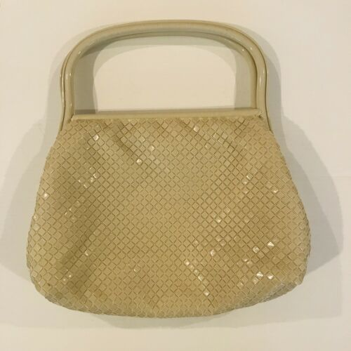 Vintage Ivory Enamel Metal Mesh Purse Excellent Condition Enamel Metal Handle