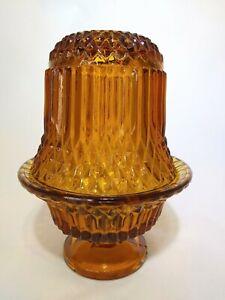 Vintage-Indiana-Glass-Princess-House-Amber-Diamond-Point-Fairy-Lamp-Holder