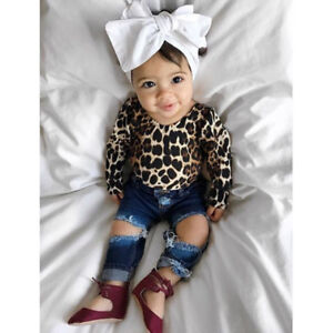 Kids Baby Girl Leopard Outfits Long Sleeve Tops+Ripped ...