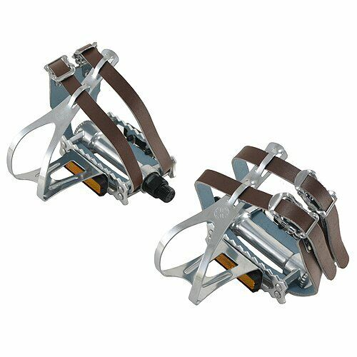 VP COMPONENTS VP365T Classic Road Touring pedals w Toe Clips & Leather Straps