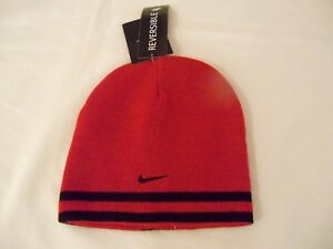 Image is loading Boys-Nike-Swoosh-Reversible-Beanie-Hat-Red-Black- a26a591e6ec
