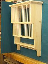 3 Tier SHAKER PEG Crown moulding Wood cup Plate Dish Rack shelf Cabinet kitchen