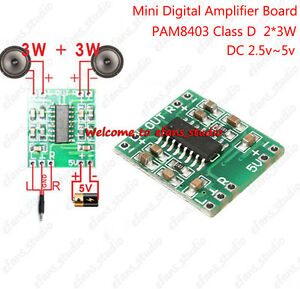 Details about PAM8403 3W×2 Class D Mini Digital Audio Amplifier Board USB  DC 5V Power Supply