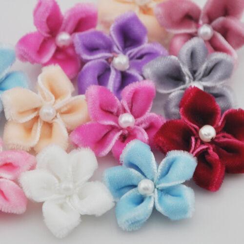20pcs U Pick Velet ruban fleur de Bauhinia avec perles appliques mariage B25