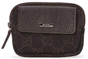 d96305b0d844 GUCCI Authentic Canvas 'GG' Logo Monogram Coin Purse Mini Zip Wallet ...