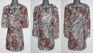 MONSOON-Ivory-Brown-Ladonna-Print-Silk-Short-or-3-4-Sleeve-Shirt-Top-UK12-59