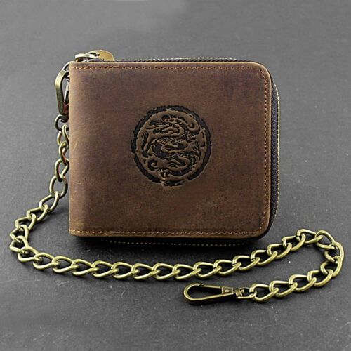 Mens Cowboy Crazy Hourse Leather Zip Wallet Card Holder Coin Purse With Chain