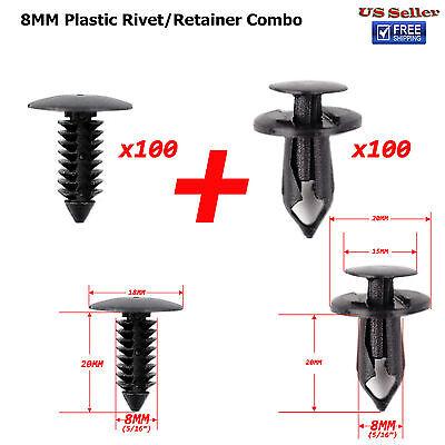 100 x Plastic Clip Rivets Fastener Hole Dia for Car Auto Bumper Fender Rocker