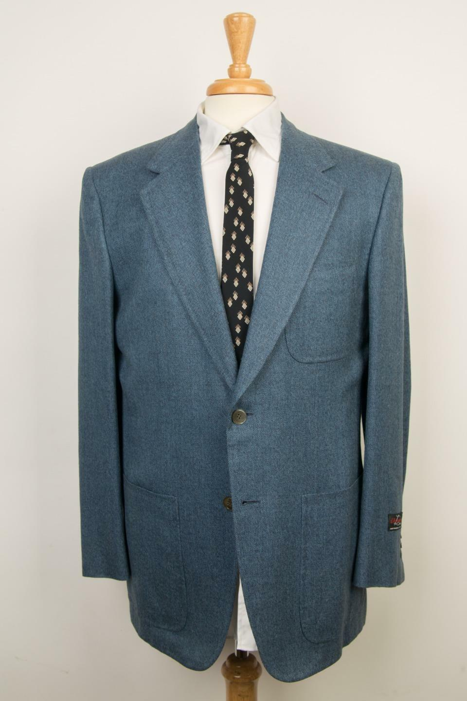 D'Avenza NWT bluee Herringbone Striped 2 Button Silk Blend Sport Coat 50 IT 40 US