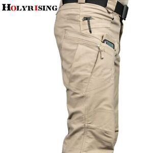 Pantalones De Trabajo Para Hombre Multiples Bolsillos Elasticos Militares Viajes Ebay