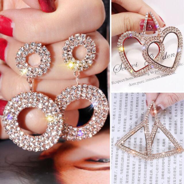 Luxury`Rhinestone Earrings Crystal Geometric Hoop EarrinRGS