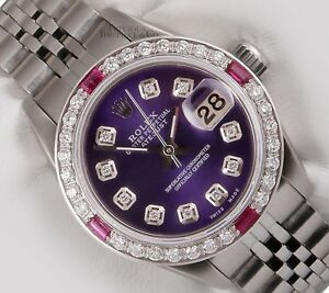 Rolex-Lady-Datejust-Steel-26mm-Purple-Diamond-Dial-Ruby-Gemstone-amp-Diamond-Bezel