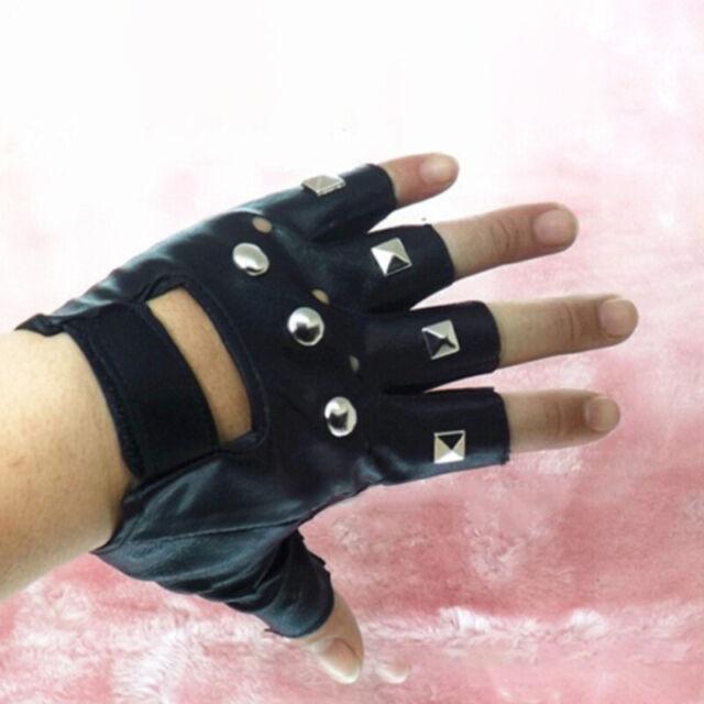 Fashion PU Leather Skull Punk Driving Motorcycle Biker Fingerless Gloves New LF