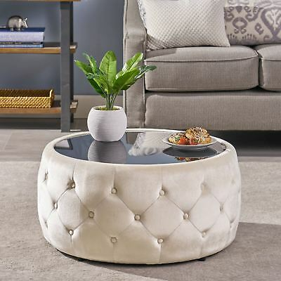 Ivy Glam Velvet And Tempered Glass Coffee Table Ottoman Ebay