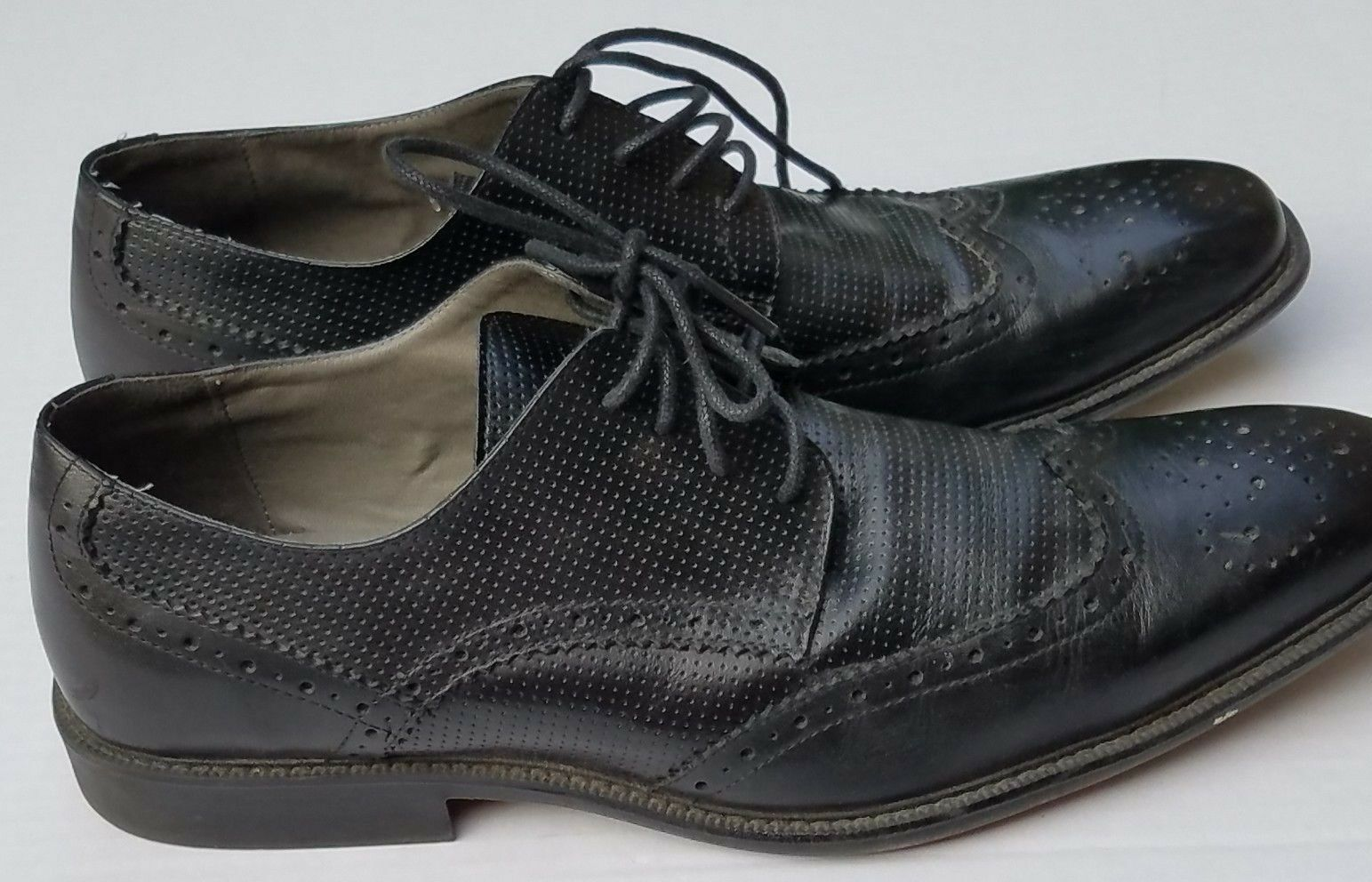 d6d9ff5457290 STEVE MADDEN Black Leather WingTip Dress Oxford Dress Shoes Shoes Shoes  P-Lander Mens 9