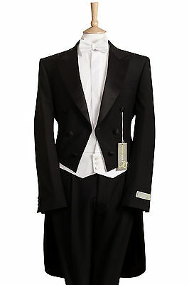3 PIECE WHITE TIE EVENING TAILS TAILCOAT WAISTCOAT BOW TIE PACKAGE NO TROUSERS