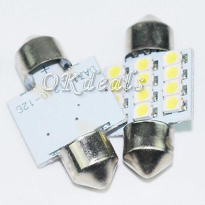 2 PCS  31mm 12 LED SMD Festoon Dome Light lamp Car Bulbs White 3021 3022