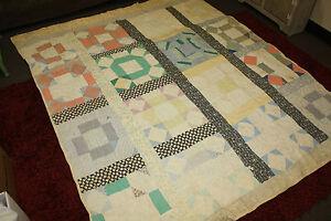 """Vintage Antique Primitive Hand Sewn Patchwork Quilt 79"""" x 67"""""""