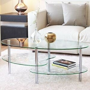 Image Is Loading Modern Glass Coffee Table Wood Oval Chrome Living
